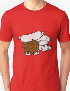 chef koch würstchen grill meister grillen kochmütze essen lecker fleisch stacheln baby comic cartoon süßer kleiner niedlicher igel  Unisex T-Shirt