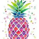 Colourful Watercolour Pineapple! by 4ogo Design