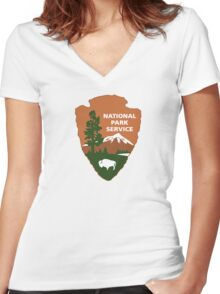National Park Service logo Women's Fitted V-Neck T-Shirt