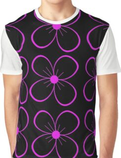 Black and purple flower Graphic T-Shirt