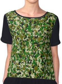 Digital Jungle Camo Pattern Chiffon Top