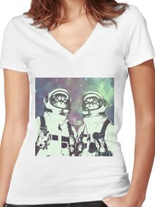 Space Age Catstronauts Women's Fitted V-Neck T-Shirt