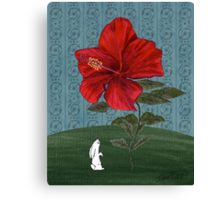 Bunny and Hibiscus Canvas Print