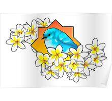 Birdie with frangipani flowers Poster