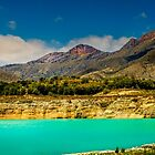 The mountains and the reservoir at Amadorio - Panorama by Ralph Goldsmith