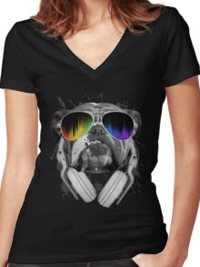 Bulldog DJ Women's Fitted V-Neck T-Shirt