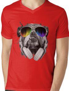 Bulldog DJ Mens V-Neck T-Shirt