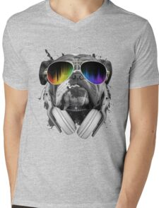 Bulldog DJ Mens V-Neck T-Shirt