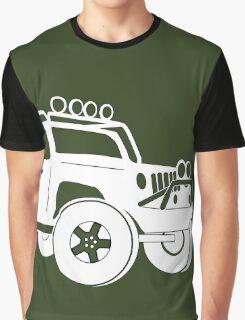 JK Jeep Wrangler Tourer Spec Front 3/4 Apparel | Tee Shirt, Hoodies & More - White Graphic T-Shirt