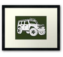 Jeep JK Wrangler Touring Spec:  Sticker / Tee - White Framed Print