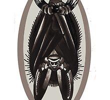 hanging bat, old school tattoo bat by resonanteye