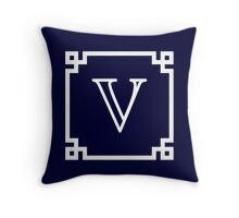 Navy Blue White Monogram V In A White Greek Key Frame Throw Pillow