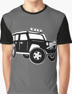 Jeep Wrangler Sticker / Decal - Front 3/4 Touring Design - Black Graphic T-Shirt