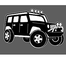 Jeep Wrangler Sticker / Decal - Front 3/4 Touring Design - Black Photographic Print
