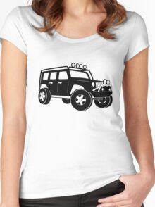 JK Jeep Wrangler Tourer Spec Front 3/4 Apparel | Tee Shirt, Hoodies & More - Black Women's Fitted Scoop T-Shirt
