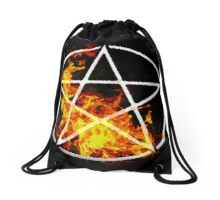 Pentacle with Flames Drawstring Bag