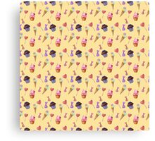 Watercolor sweets pattern Canvas Print