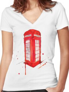 Telephone Booth Women's Fitted V-Neck T-Shirt