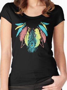 Cute Feather Necklace Graphic  Women's Fitted Scoop T-Shirt