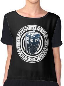 Never Cruel Or Cowardly - Doctor Who - Blue TARDIS Chiffon Top