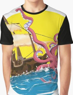 Cartoon pirate ship Giant Squid attack! Graphic T-Shirt