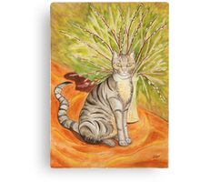 Cat and Catkins Canvas Print