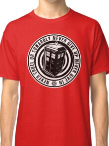 Never Cruel Or Cowardly - Doctor Who - Black TARDIS Classic T-Shirt