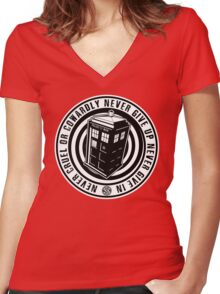 Never Cruel Or Cowardly - Doctor Who - Black TARDIS Women's Fitted V-Neck T-Shirt