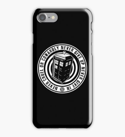 Never Cruel Or Cowardly - Doctor Who - Black TARDIS iPhone Case/Skin