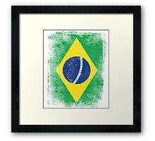 Brazil Flag Proud Brazilian Vintage Distressed Framed Print