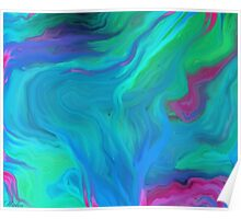 AGATE BLUE ABSTRACT OIL PAINTING Poster