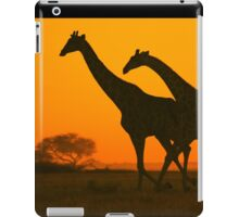 Giraffe Golden Run - African Wildlife Background iPad Case/Skin