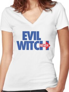 EVIL WITCH - NEVER HILLARY Women's Fitted V-Neck T-Shirt