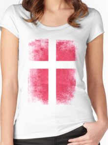 Denmark Flag Proud Danish Vintage Distressed Women's Fitted Scoop T-Shirt
