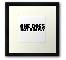 One Does Not Simply Boromir Quote Meme Funny Random Framed Print