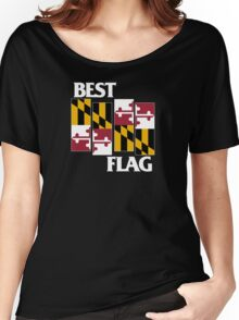 Best Flag, White on Black Women's Relaxed Fit T-Shirt