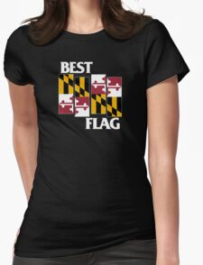 Best Flag, White on Black Womens Fitted T-Shirt