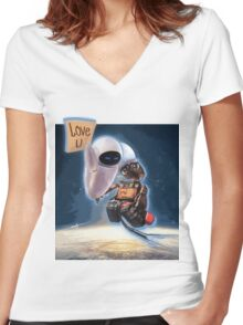 BIG WALL-E Women's Fitted V-Neck T-Shirt