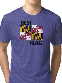 Best Flag, Black on White Tri-blend T-Shirt