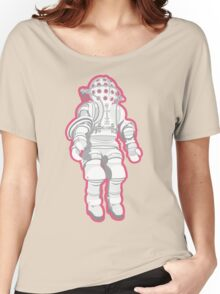 Atmospheric Diving Suite 1882 - White On Pink Women's Relaxed Fit T-Shirt