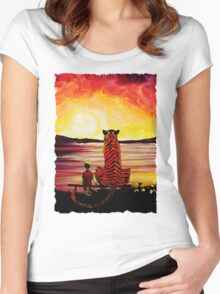 Calvin and Hobbes Art Painting Women's Fitted Scoop T-Shirt