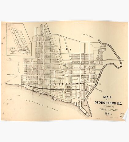 Vintage Map of Georgetown (Washington D.C.) 1876 Poster
