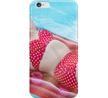 bikini blonde woman in pool  iPhone Case/Skin