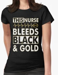 THIS NURSE BLEEDS BLACK & GOLD T-SHIRT Womens Fitted T-Shirt