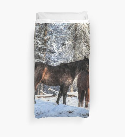 """Winter Horses """"Year of the Horse"""" Equine photo Duvet Cover"""