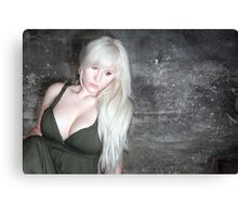 fashion blonde girl with big breasts Canvas Print