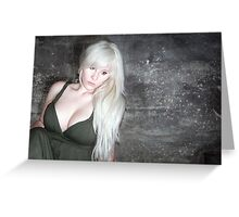 fashion blonde girl with big breasts Greeting Card