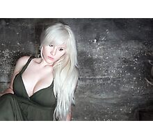 fashion blonde girl with big breasts Photographic Print