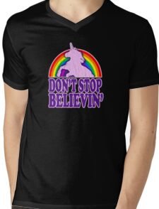Don't Stop Believin' in Unicorns Mens V-Neck T-Shirt