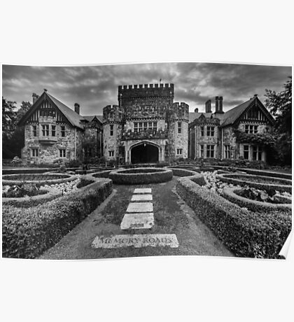 Hatley Castle Black And White Vintage Photo Poster